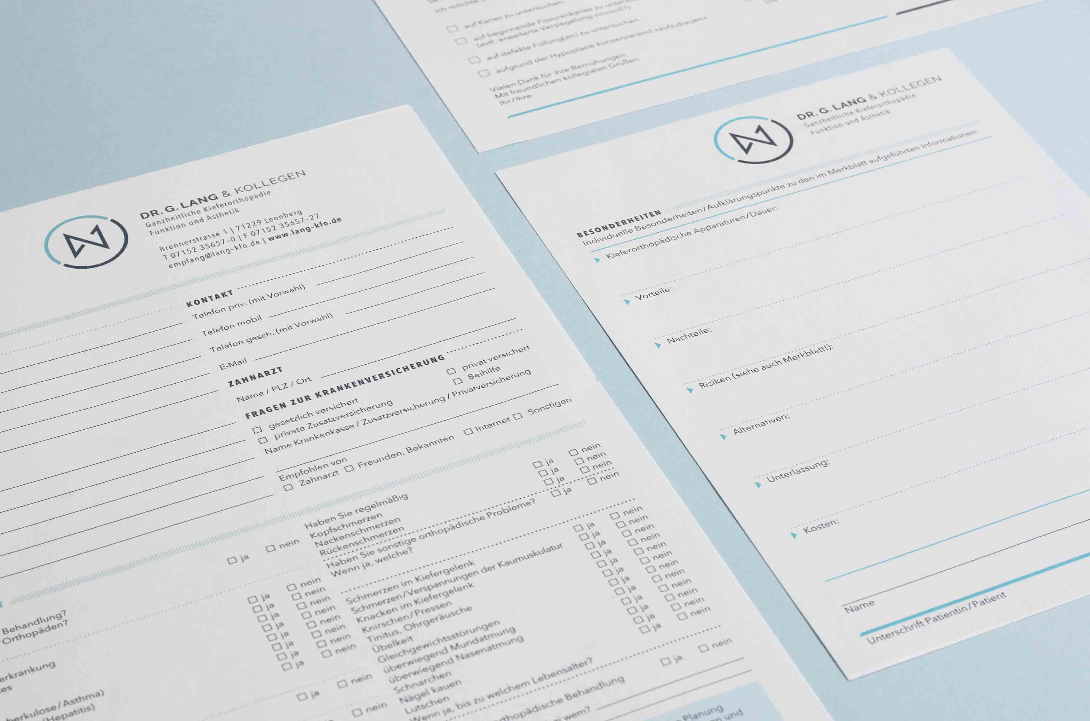 Dr. Lang Kieferorthopäde Formulare Design