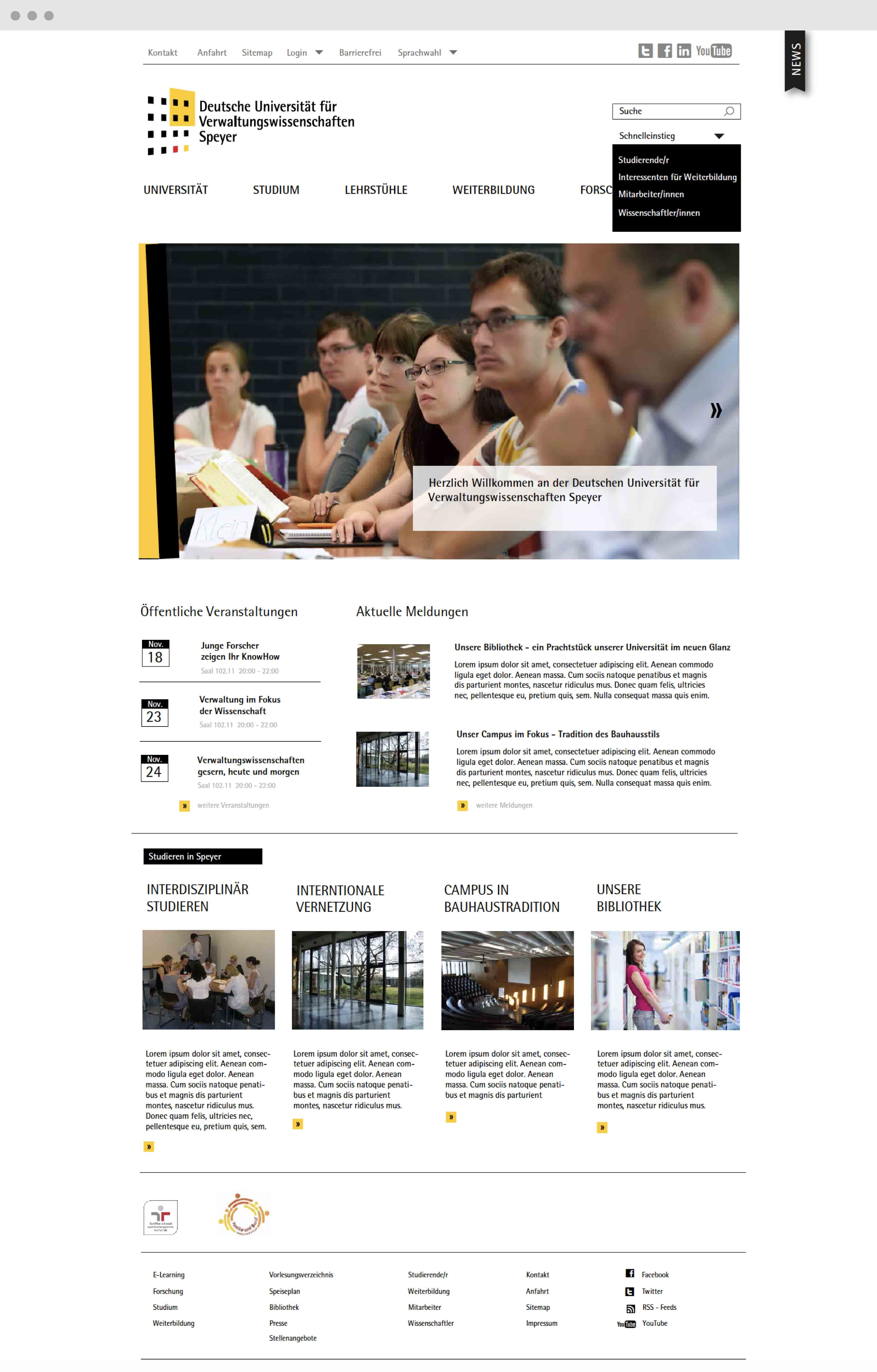 Screendesign Webdesign Uni Speyer