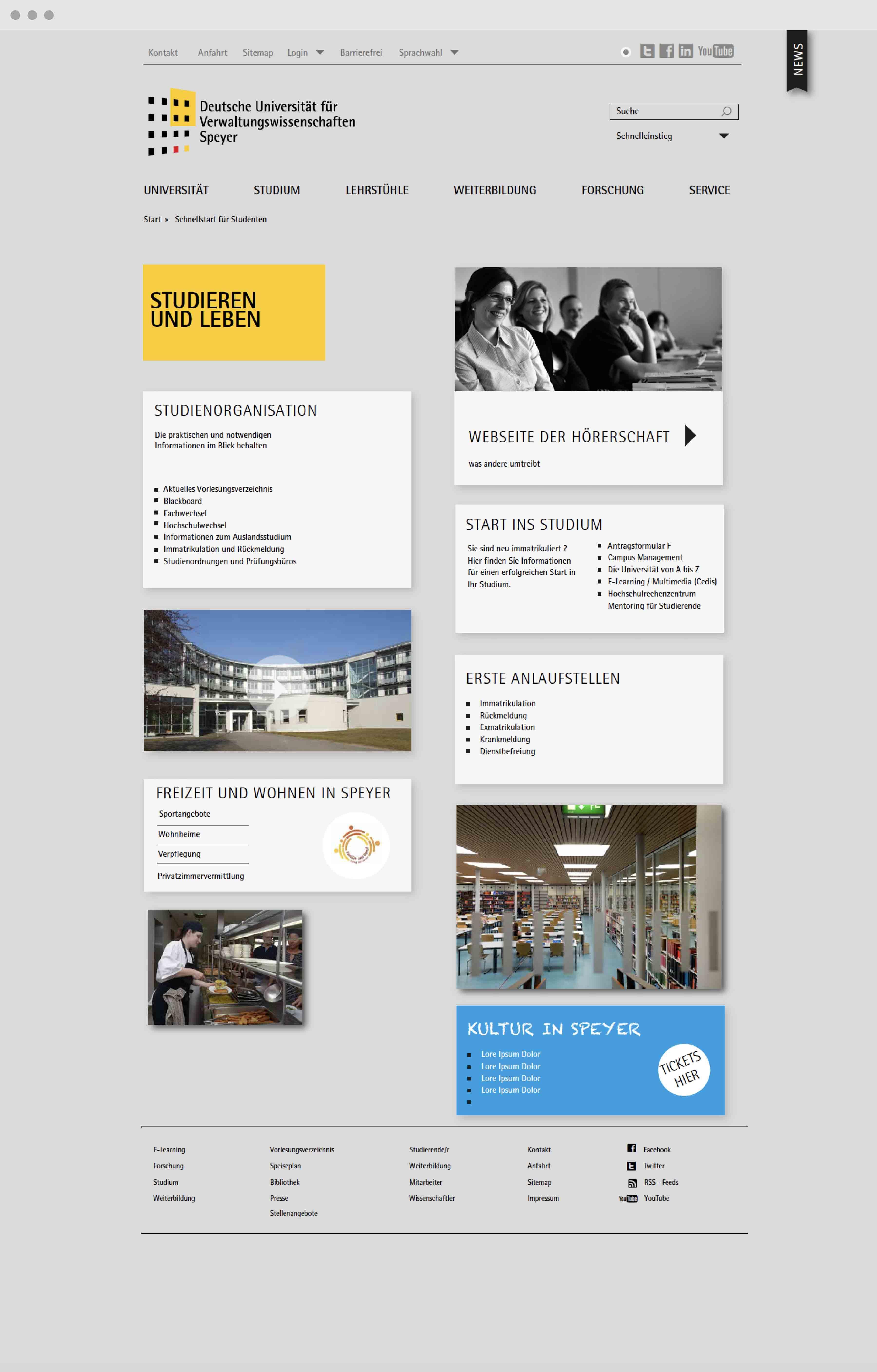 Uni Speyer Screendesign Webdesign