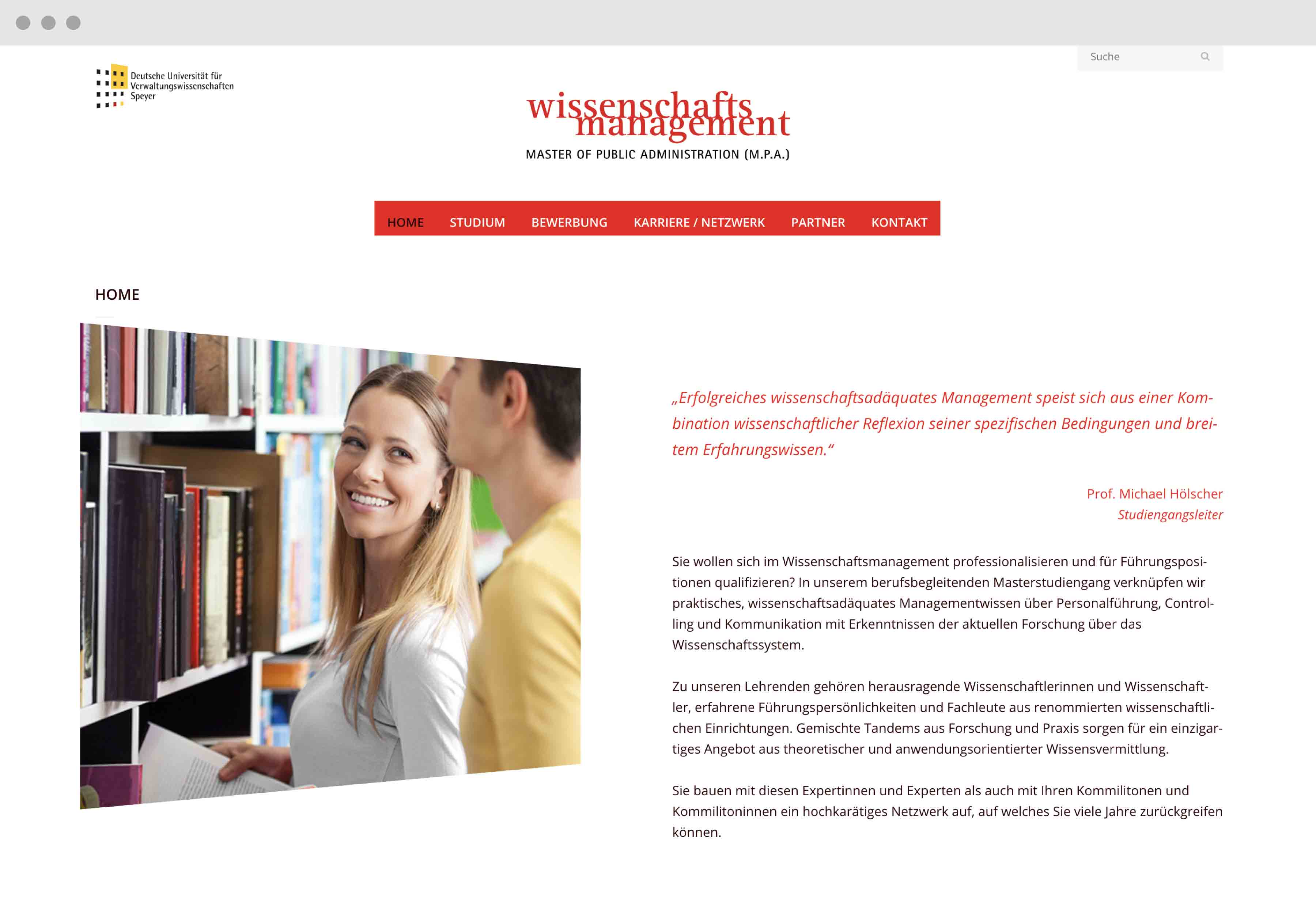 Wissenschaftsmanagement M.P.A. Screendesign