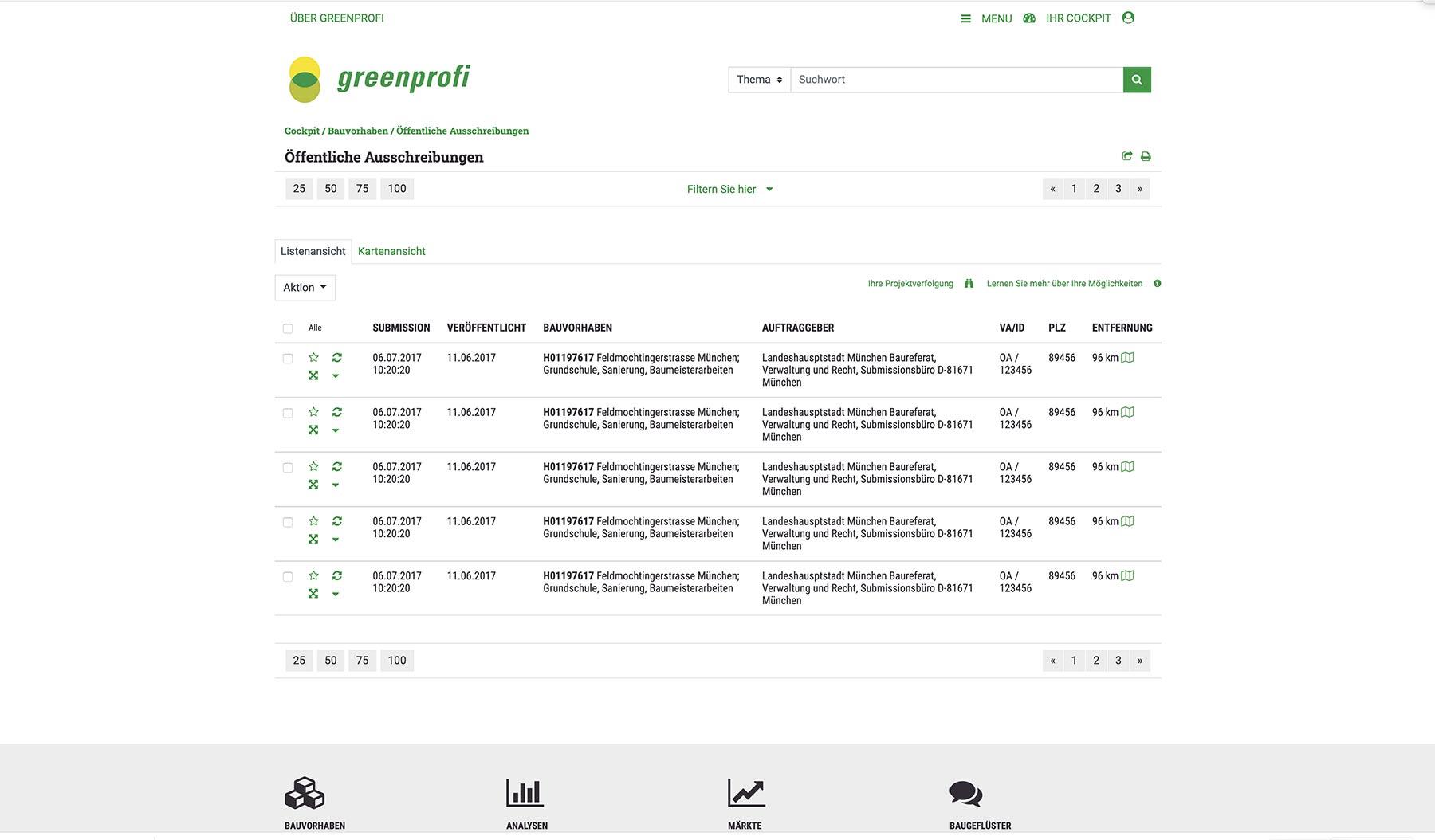 UI Design Konzeption Screendesign Ausschreibungsergebnisse