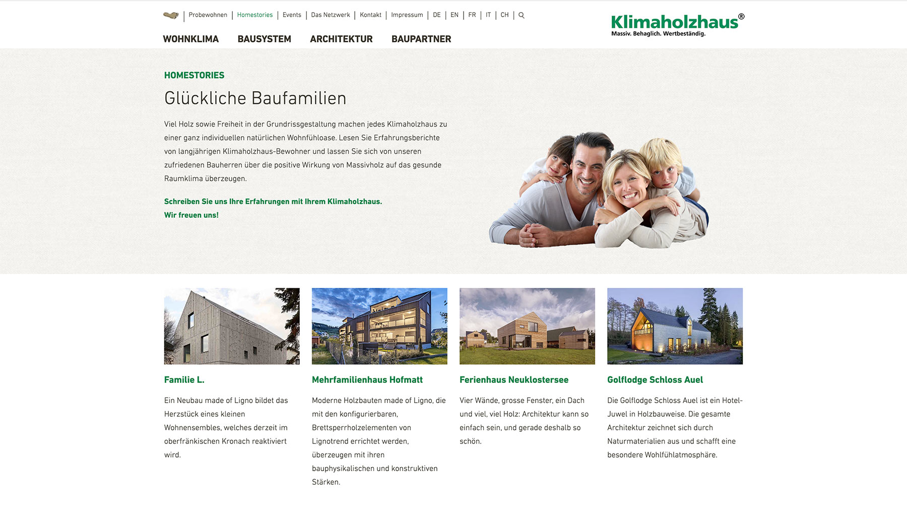 Klimaholzhaus Webdesign Typo3 Basis Screendesign Homestories