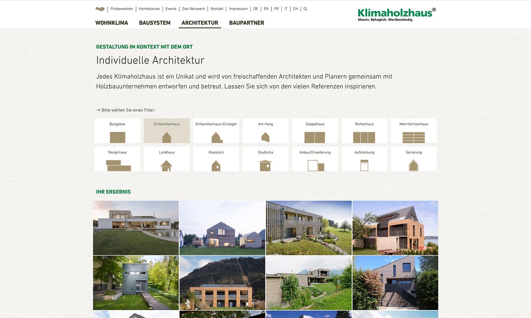 Klimaholzhaus Webseite Typo3 Basis  Screendesign  Häusersuche