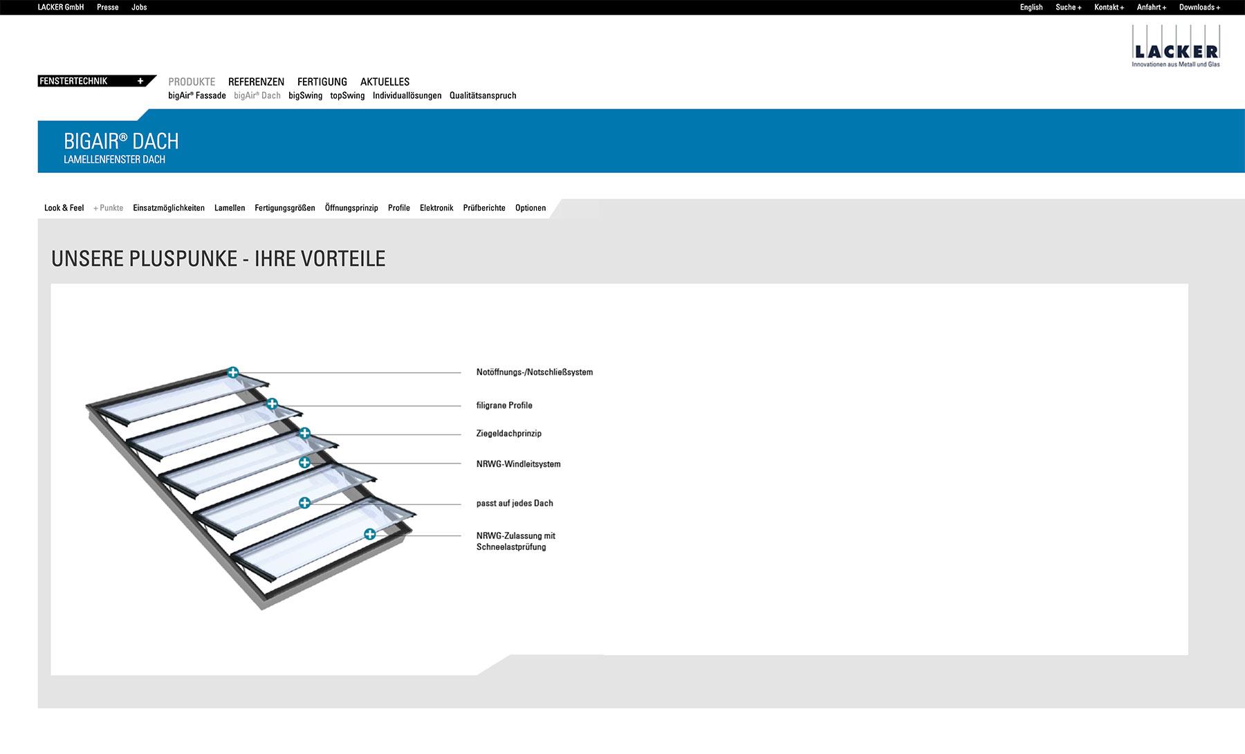 Lacker Webdesign auf Typo3 Basis Detailansicht BigAir