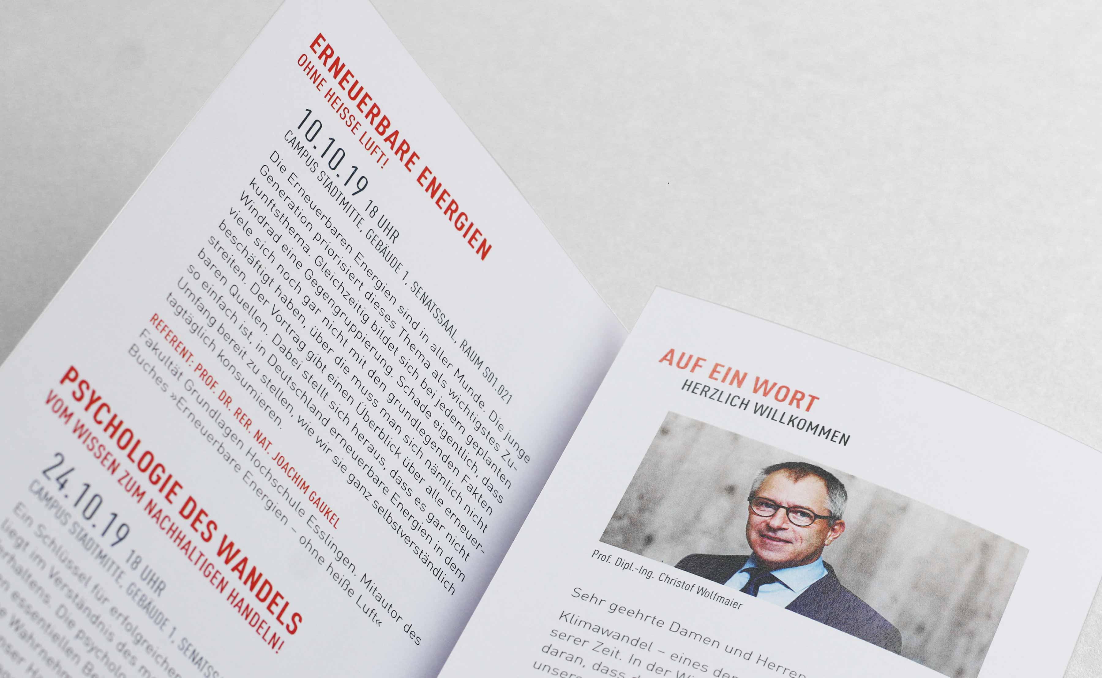 Hochschule Esslingen  Flyer für Studiengänge Design Lyout
