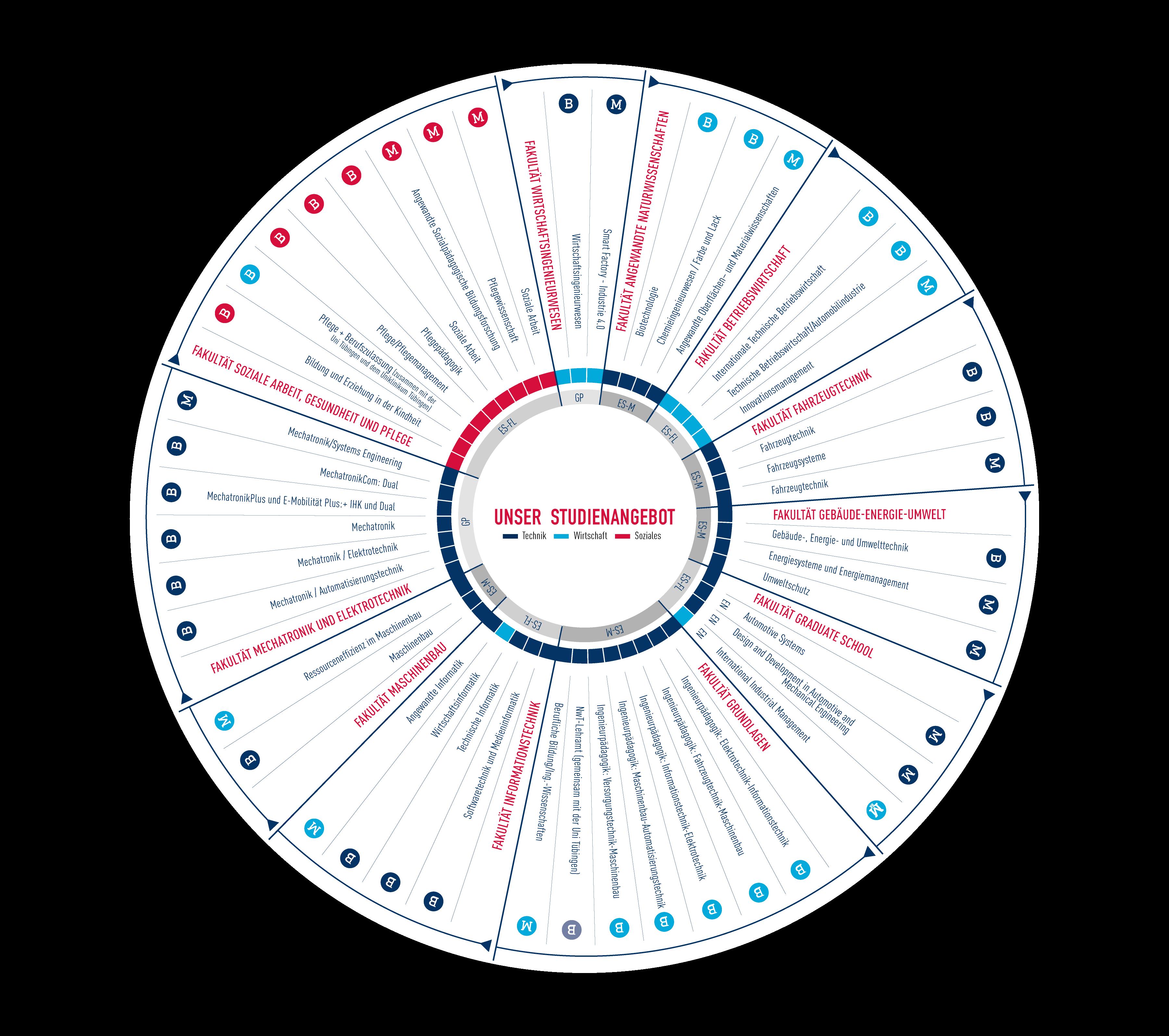 Infografik zur Darstellung der Studiengänge Hochschule Esslingen