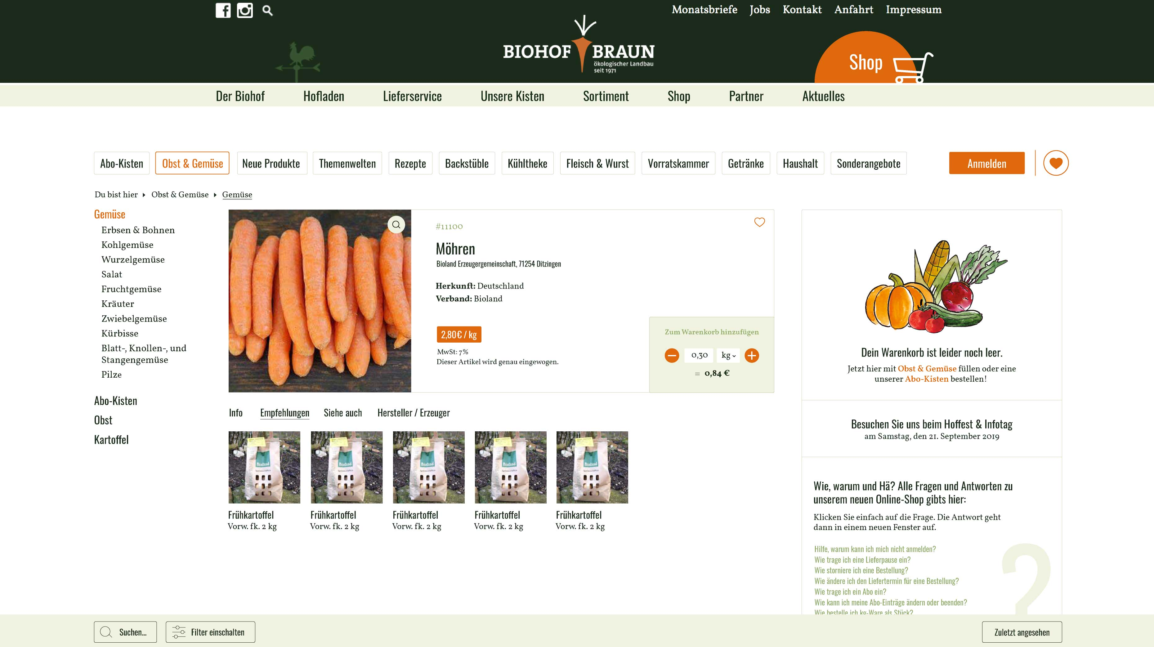 UI Design Screendesign Onlineshop