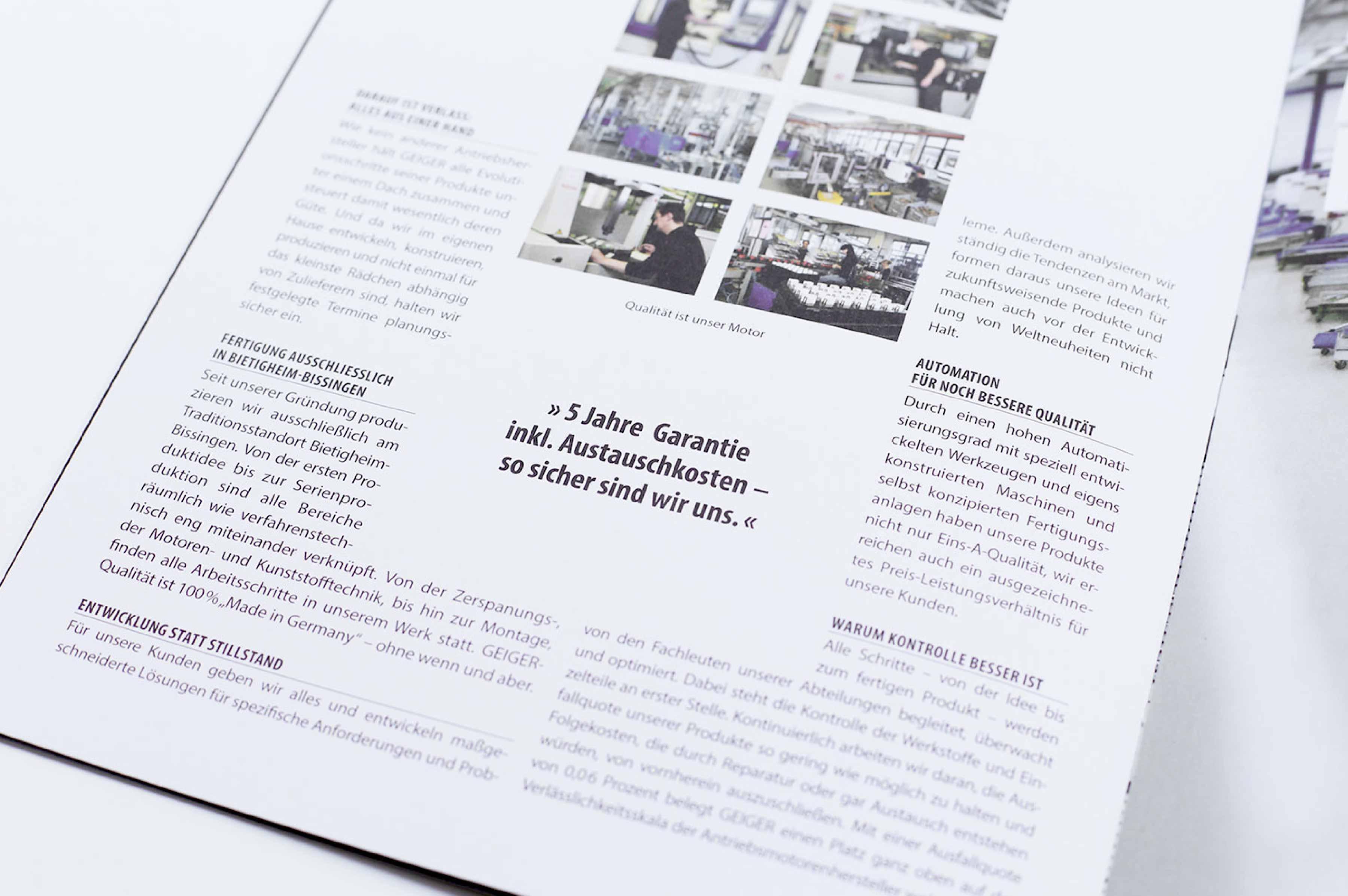 Imagebroschüre Geiger Antriebstechnik Typografie Layout Design