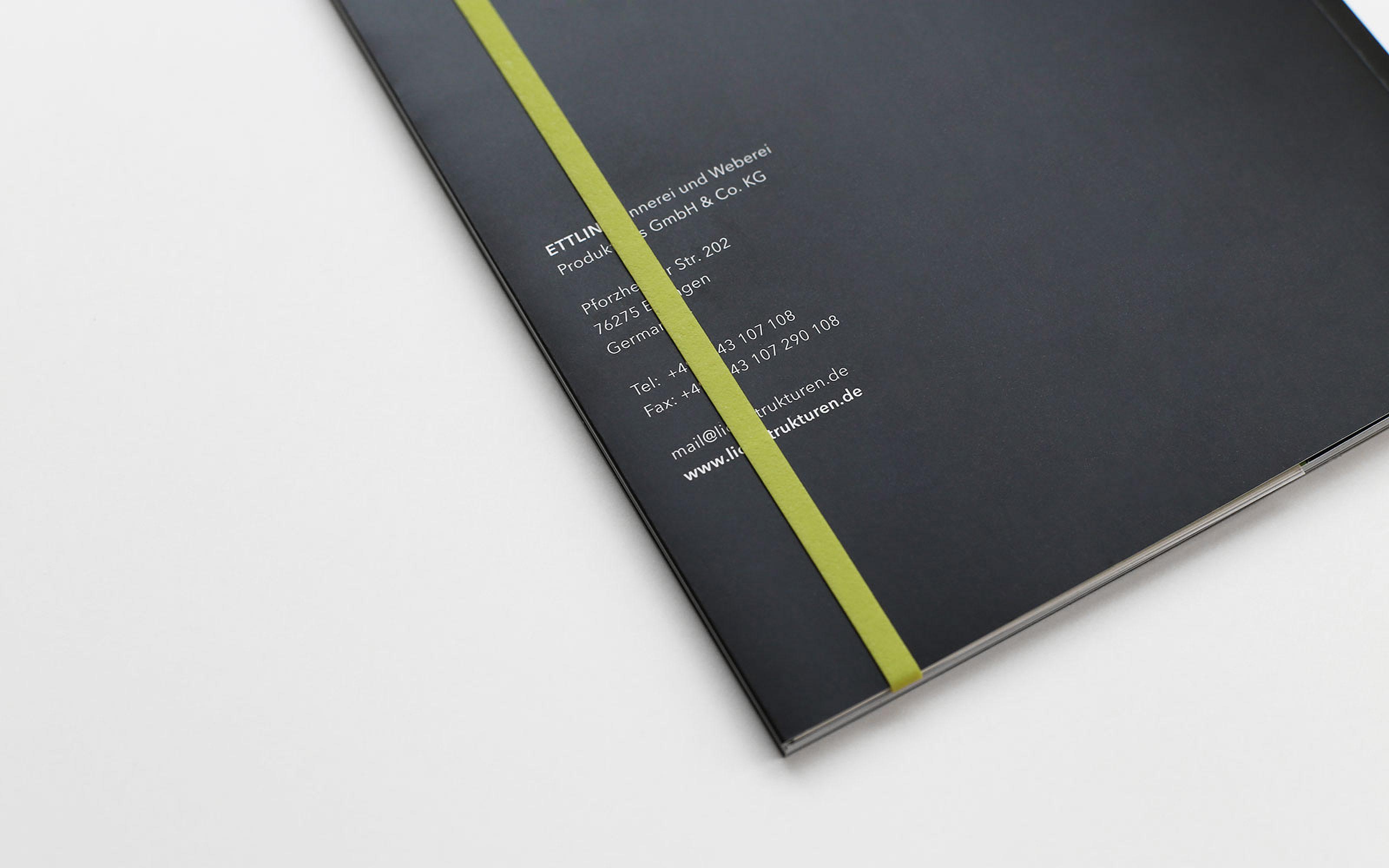 Printdesign Titel Rückseite Imagebroschüre ETTLINLUX