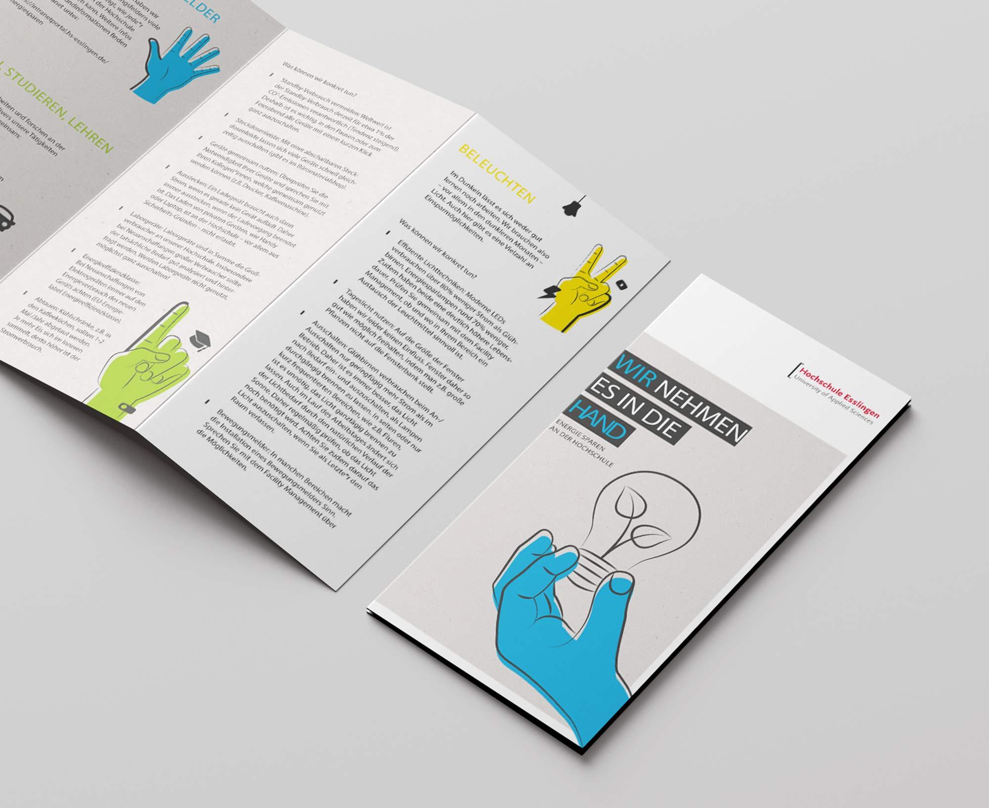 Printdesign Flyer Hochschule Esslingen Umweltkampagne