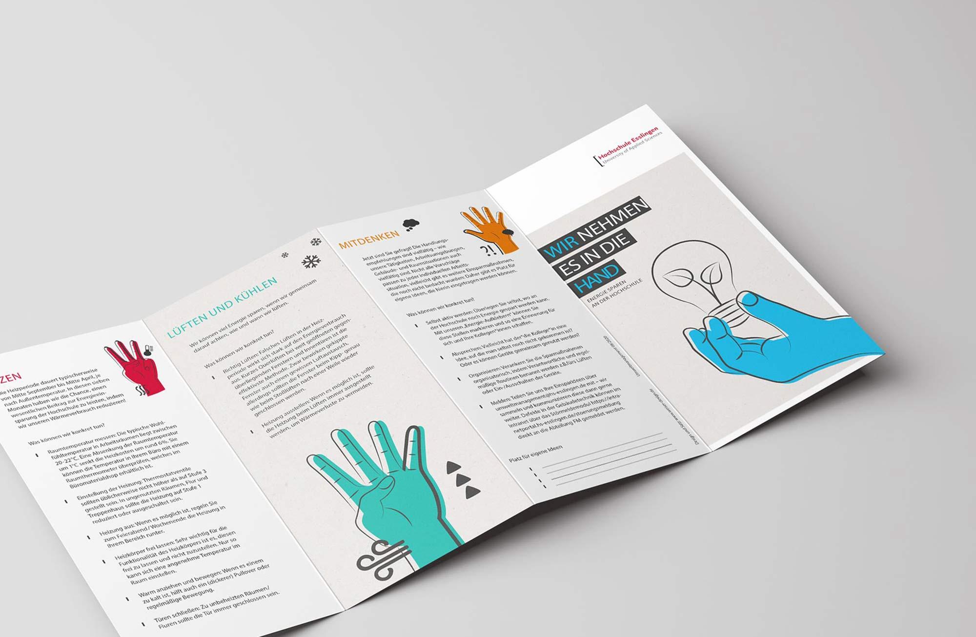 Design Flyer Icon Piktogramm für Umweltkampagne der Hochschule Esslingen