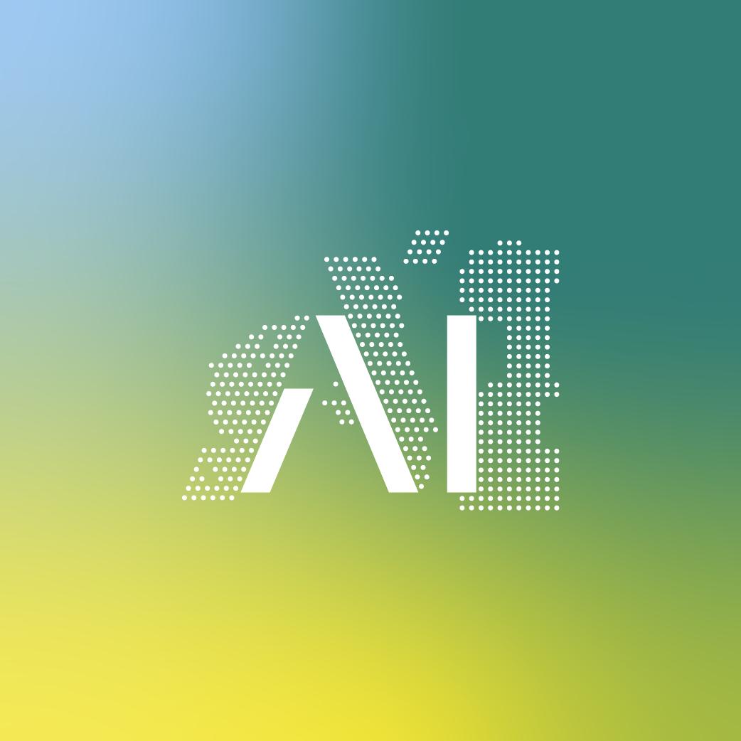 Keyvisual Design Artificial Intelligence mit Farbverlauf als Hintergrund