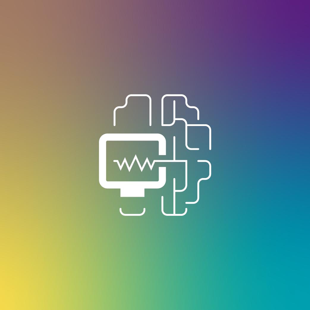 Keyvisual Design Applied Neurosciences mit Farbverlauf als Hintergrund