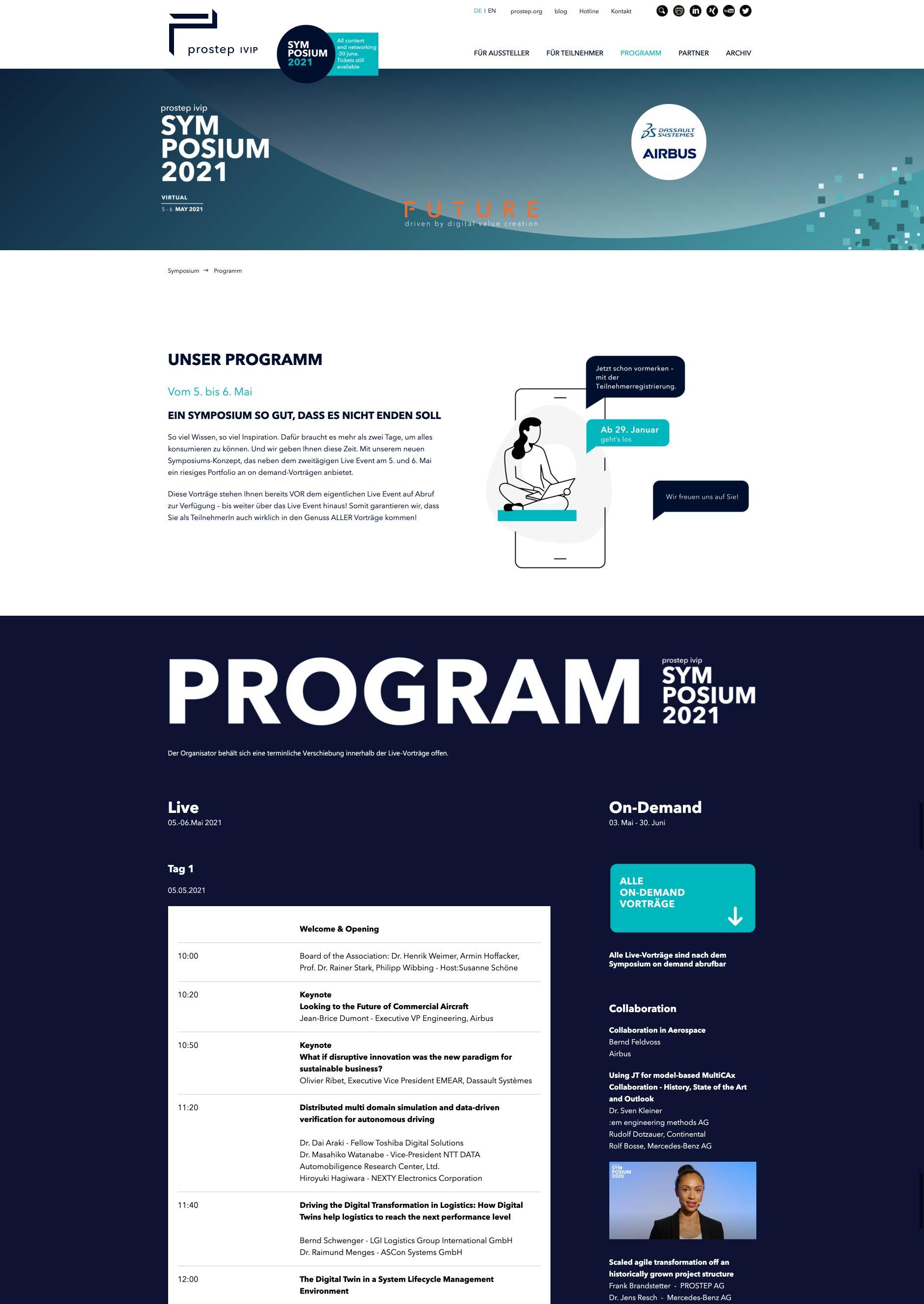 UI-Design, Webdesign, Screendesign Online Programm für prostep ivip sympossium